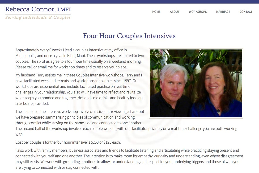 web design for a therapist - workshops page