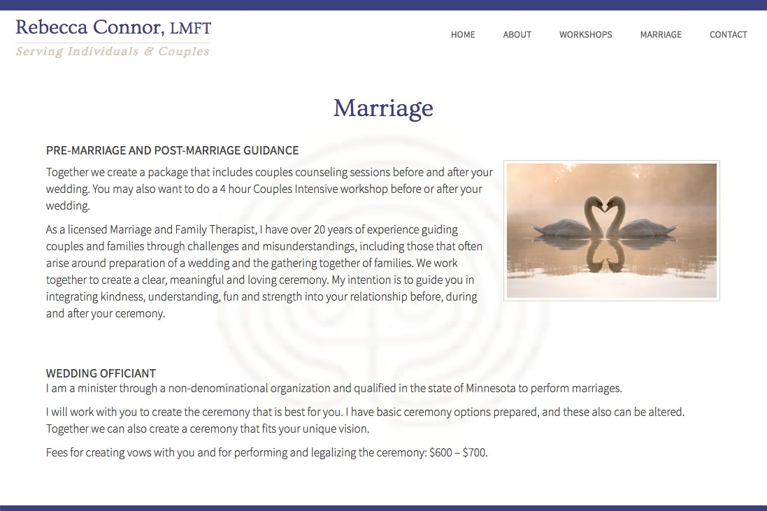 web design for a therapist - marriage counseling page