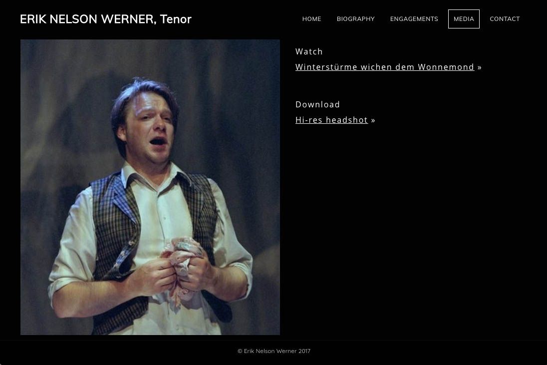 customization of a weebly site for an opera singer - media page