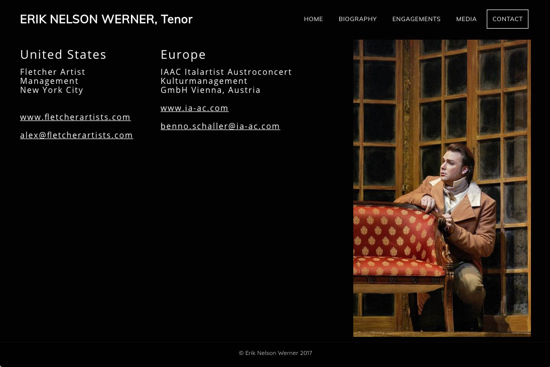 customization of a weebly site for an opera singer - Erik Werner - contact page