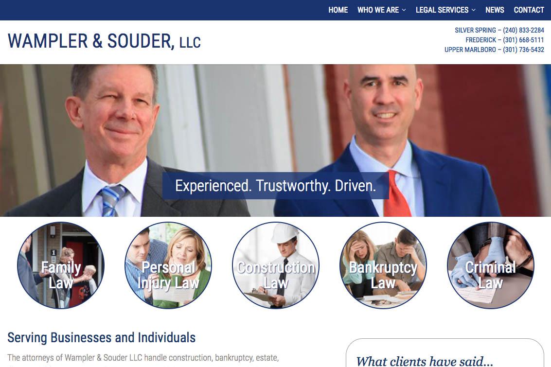 web design for a Maryland law firm - Wampler & Souder