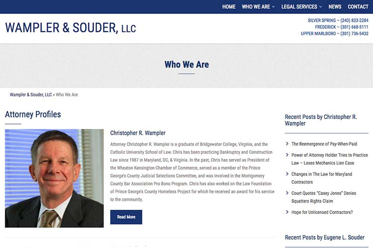 web design for a law firm in Maryland - who we are page