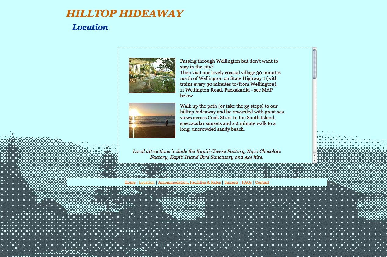 web design for a backpacker hostel in Paekakariki - location page
