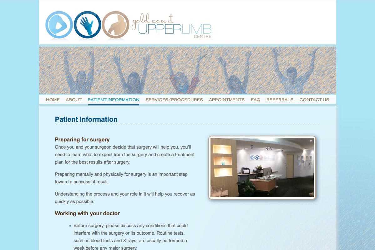 web design for orthopaedic surgeon for shoulders, elbows and wrists - patient information page