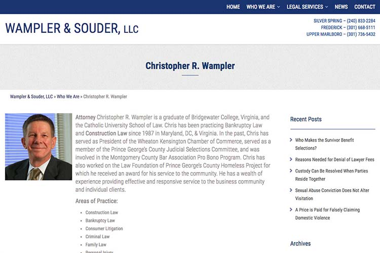 web design for a law firm in Maryland - attorney profile page 1