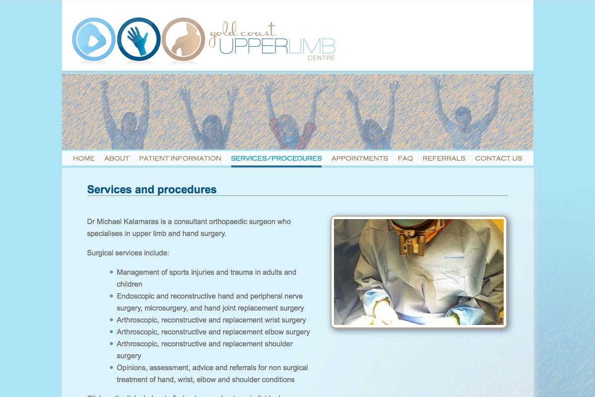 web design for orthopaedic surgeon for shoulders, elbows and wrists - procedures page