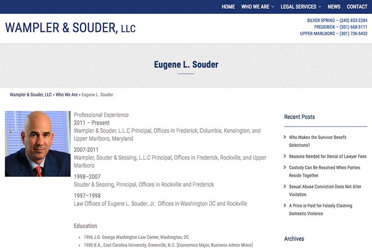 web design for a law firm in Maryland - attorney profile page 2