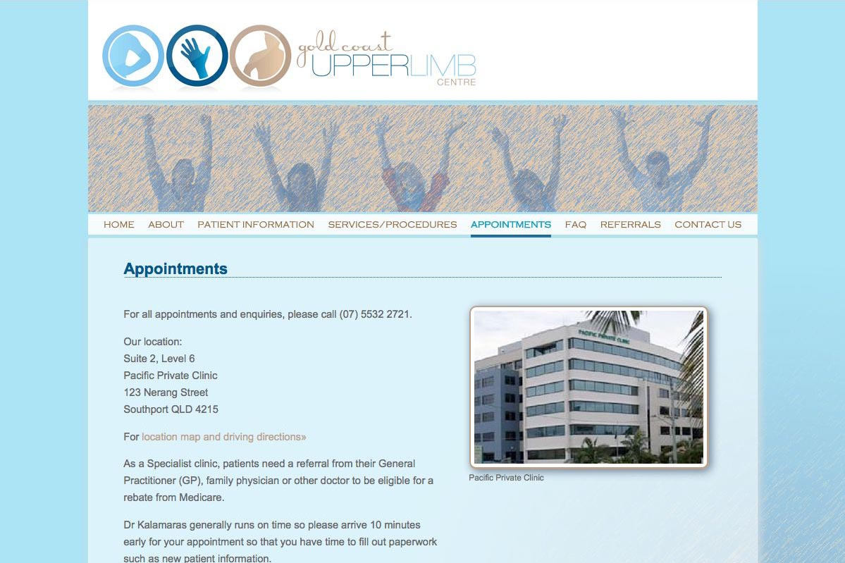 web design for orthopaedic surgeon for shoulders, elbows and wrists - appointments page