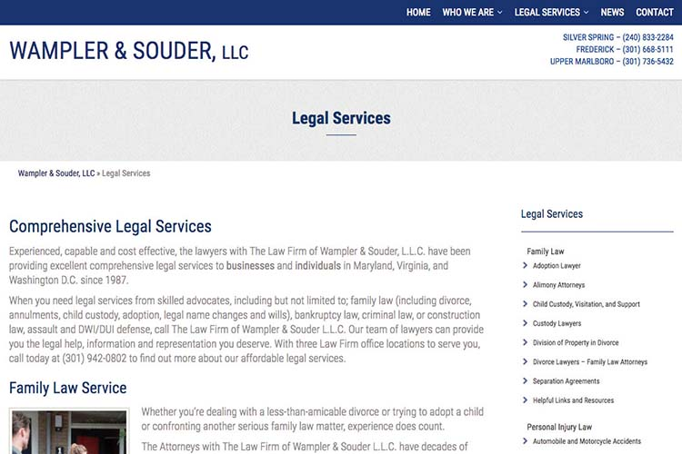 web design for a law firm in Maryland - legal services page