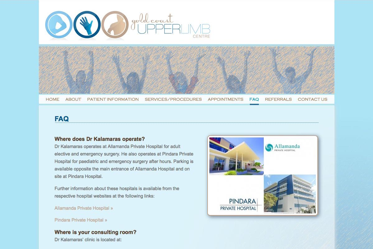 web design for orthopaedic surgeon for shoulders, elbows and wrists - faq page