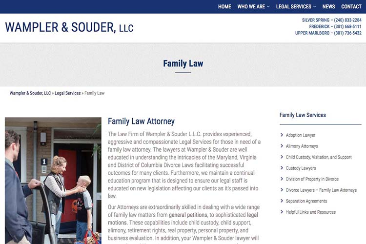 web design for a law firm in Maryland - family law page