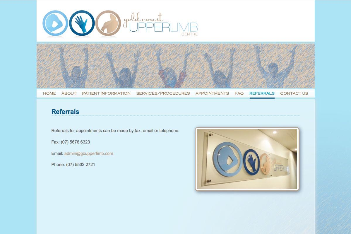 web design for orthopaedic surgeon for shoulders, elbows and wrists - referrals page
