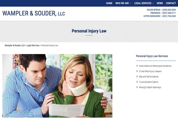web design for a law firm in Maryland - personal injury law page
