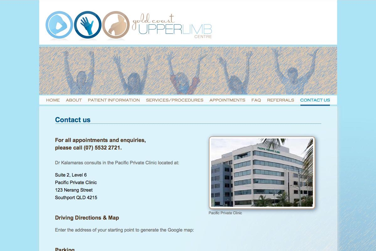 web design for an orthopaedic surgeon - Michael Kalamaras - contact page