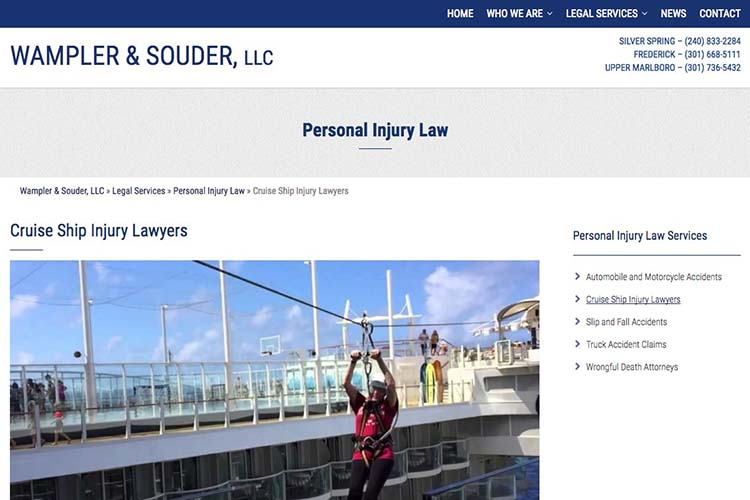 web design for a law firm in Maryland - cruise ship injuries page