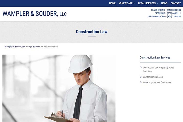 web design for a law firm in Maryland - construction law page