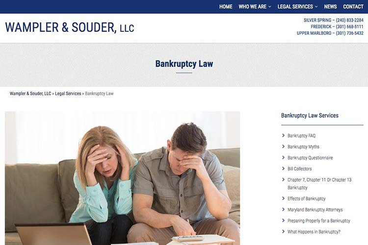 web design for a law firm in Maryland - bankruptcy law page