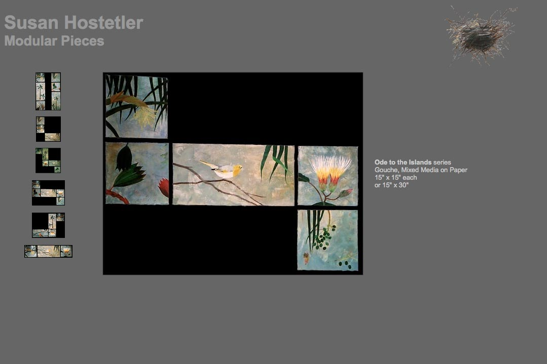 web design for a mixed media artist - modular pieces page