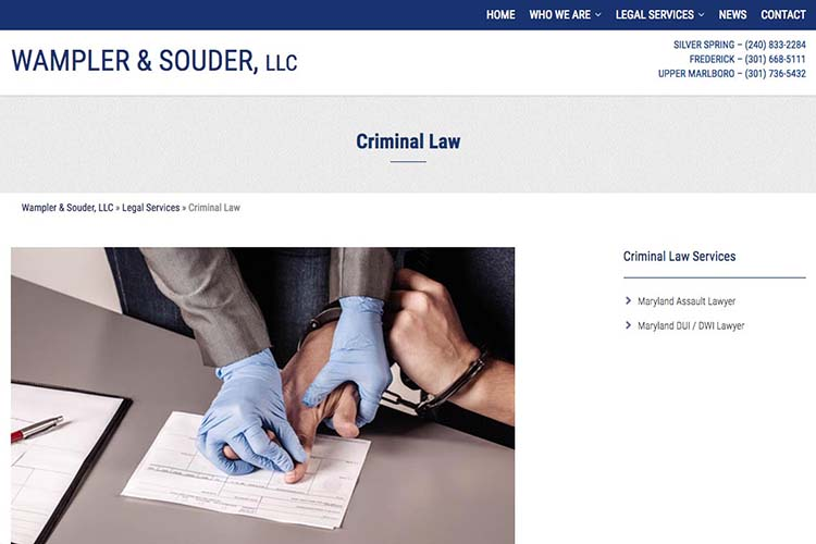 web design for a law firm in Maryland - criminal law page