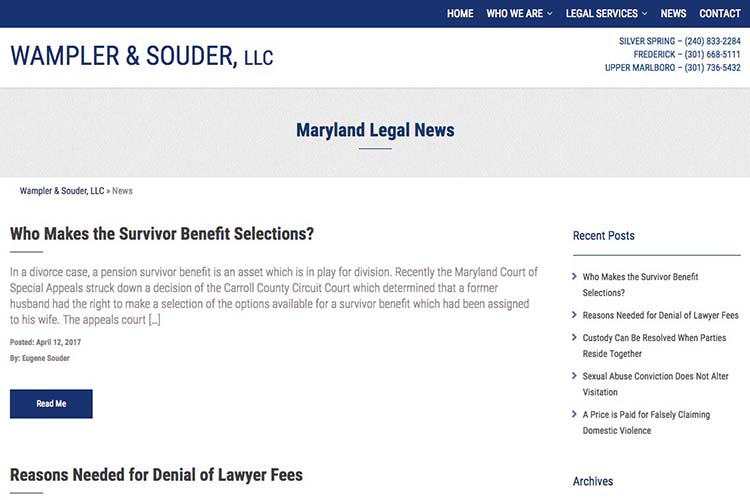web design for a law firm in Maryland - blog index page
