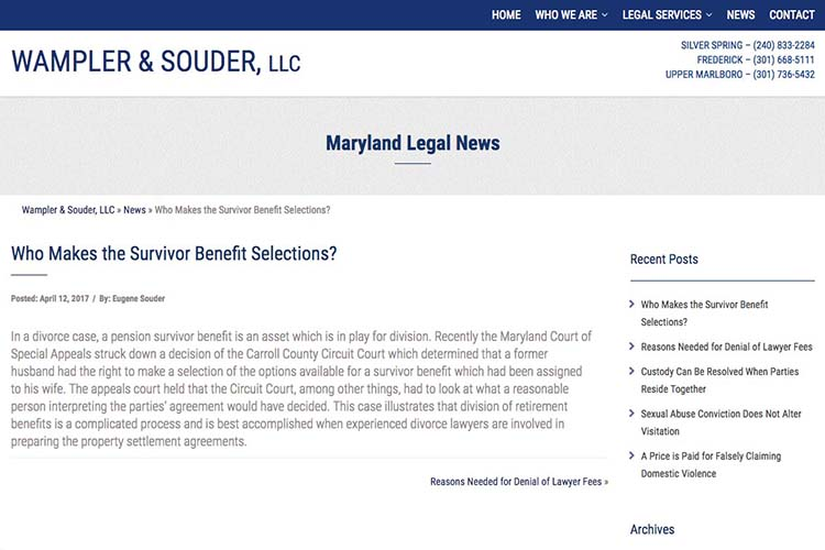 web design for a law firm in Maryland - blog single post page