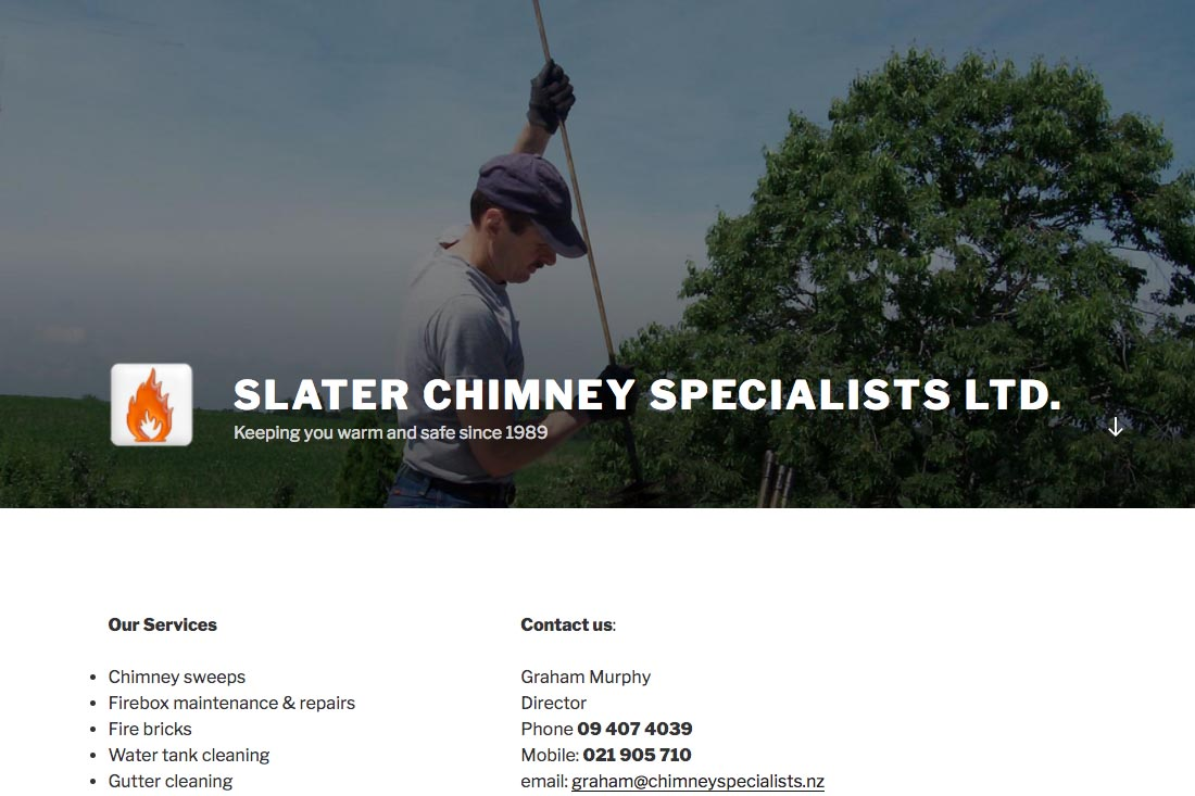 website for a chimney sweep company in New Zealand