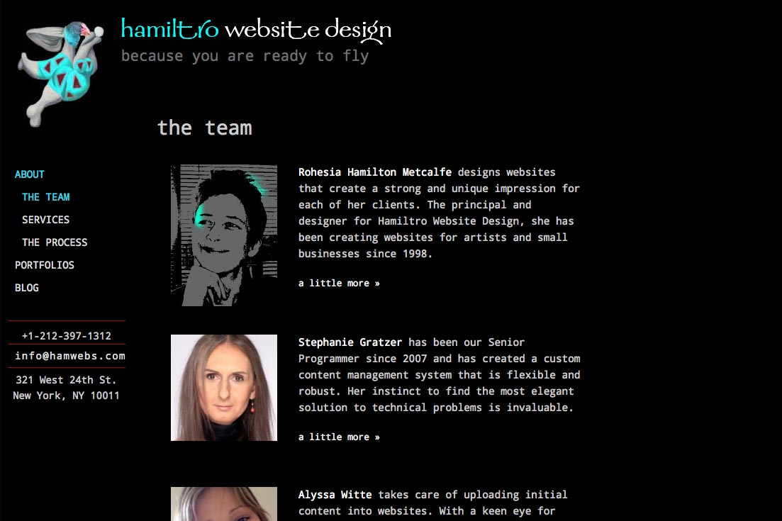 web re-design for a web design company - team page