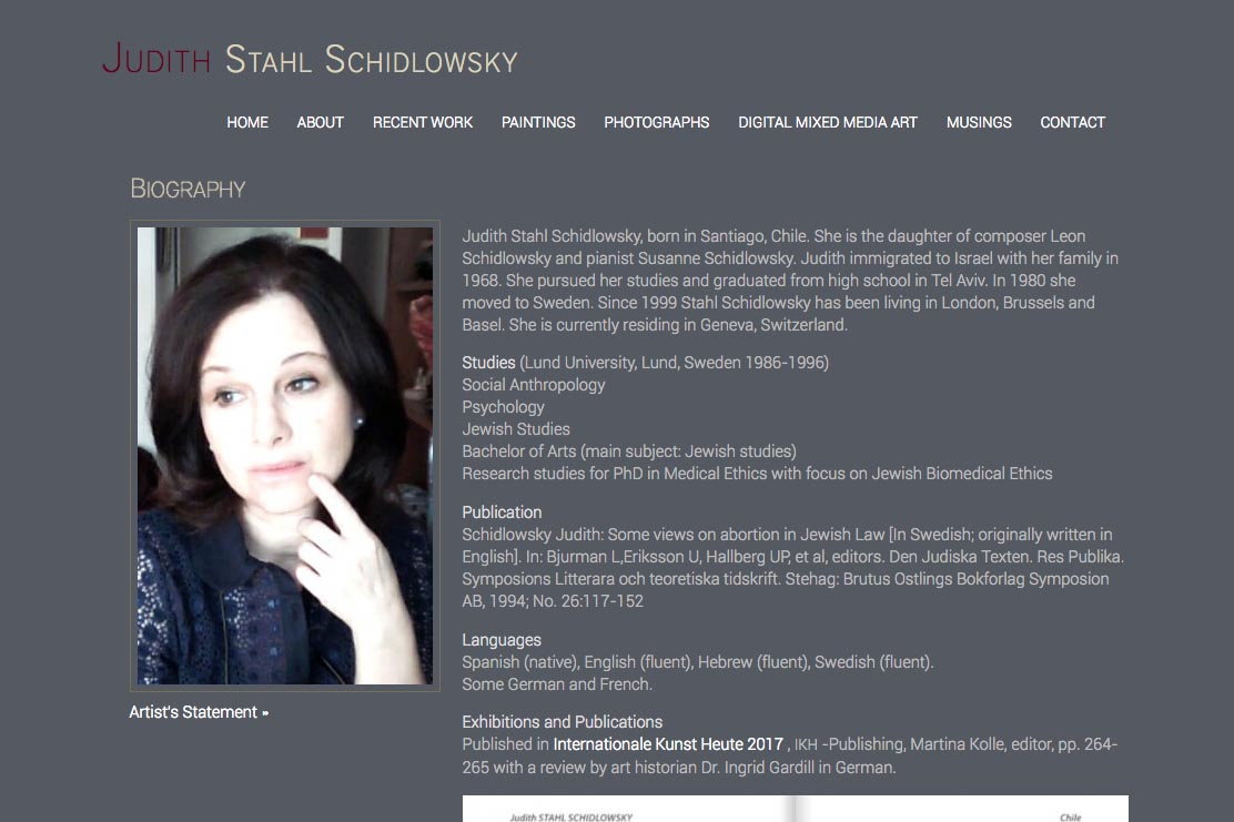 web design for a photographer and painter - Juliet Schidlowsky - biography page