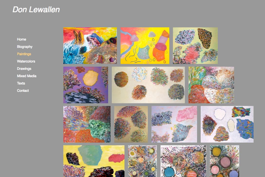 web design for abstract artist - paintings index page