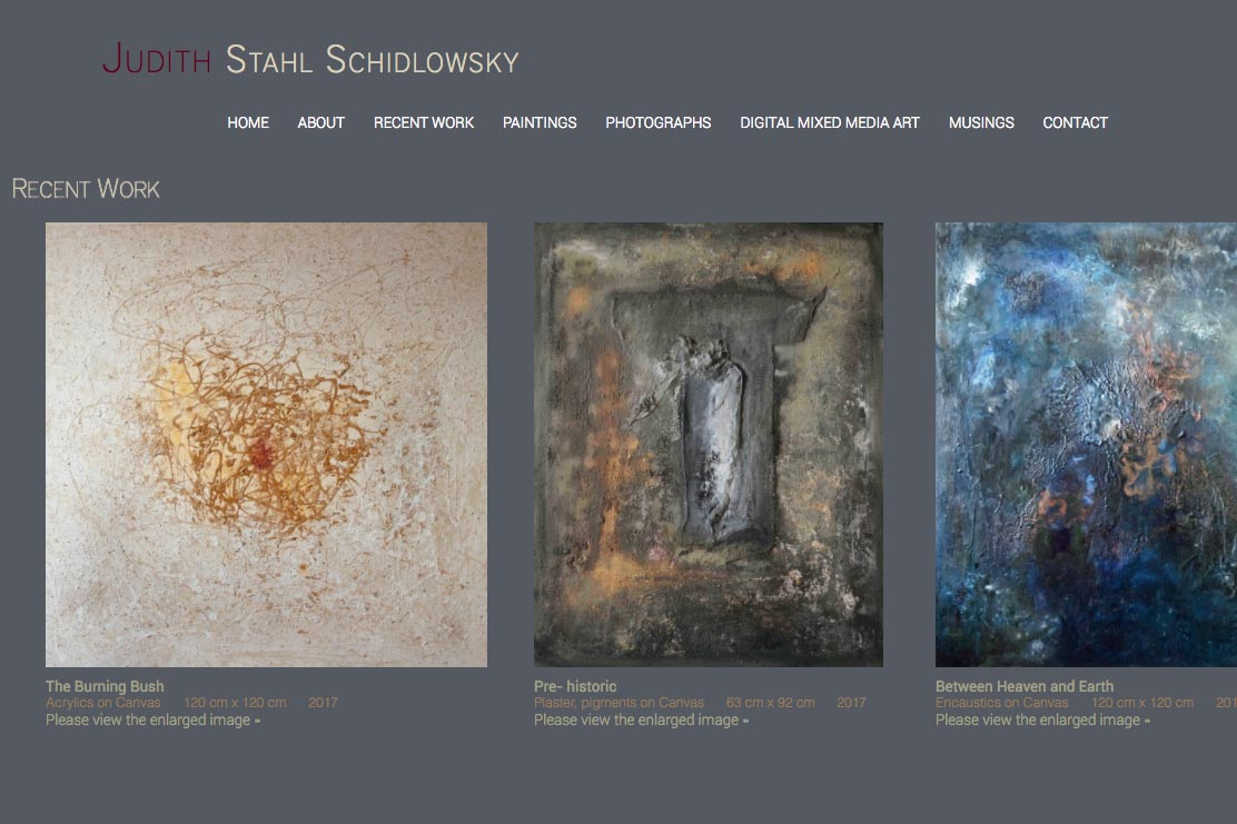 web design for a photographer and painter - Juliet Schidlowsky - recent work page
