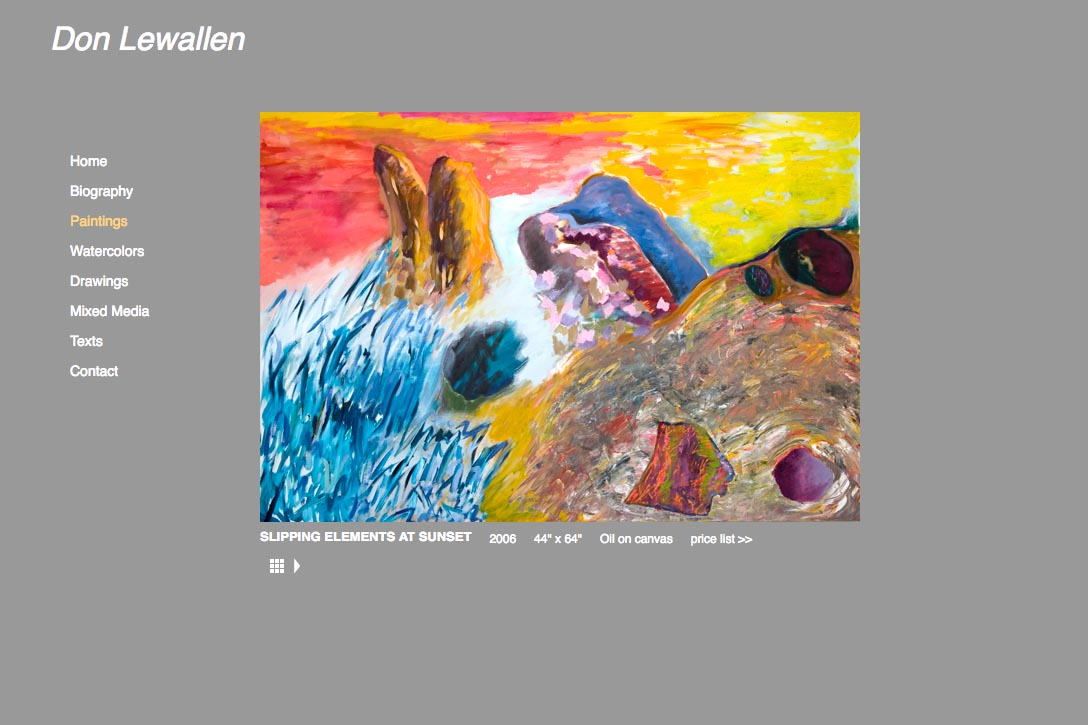web design for abstract artist single paintings page