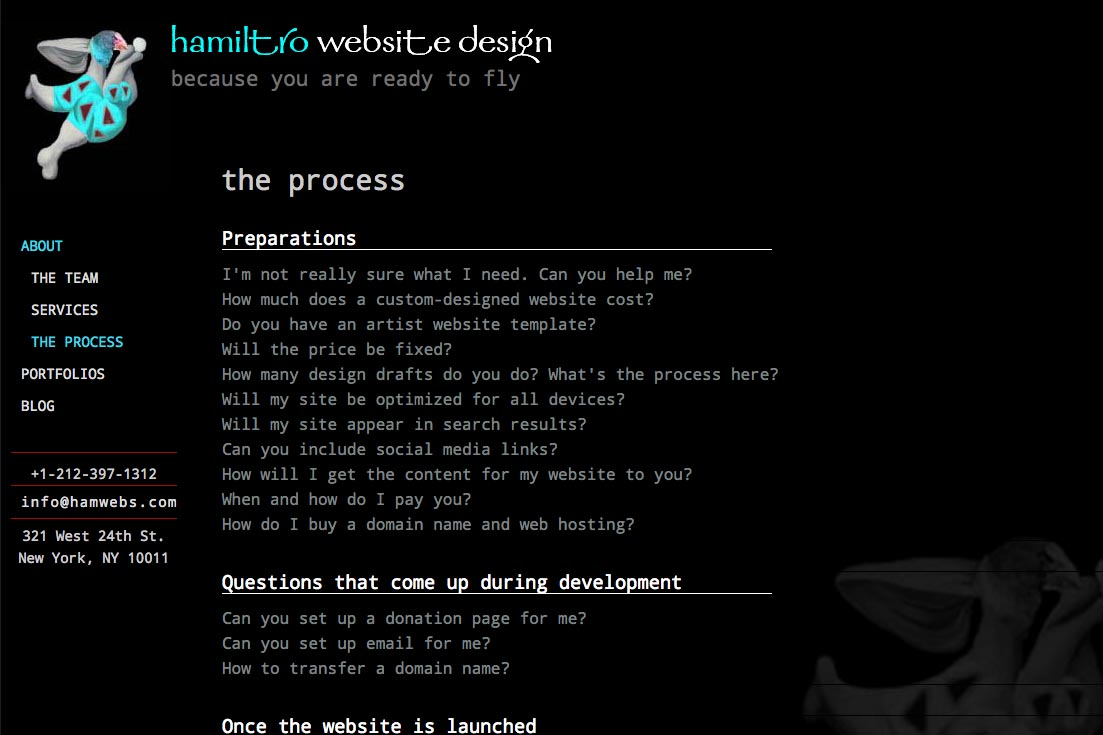 web re-design for a web design company - the process page