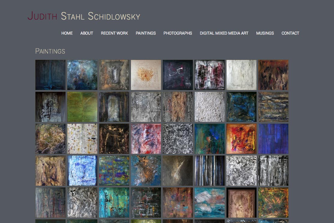 web design for a photographer and painter - Juliet Schidlowsky - paintings index page