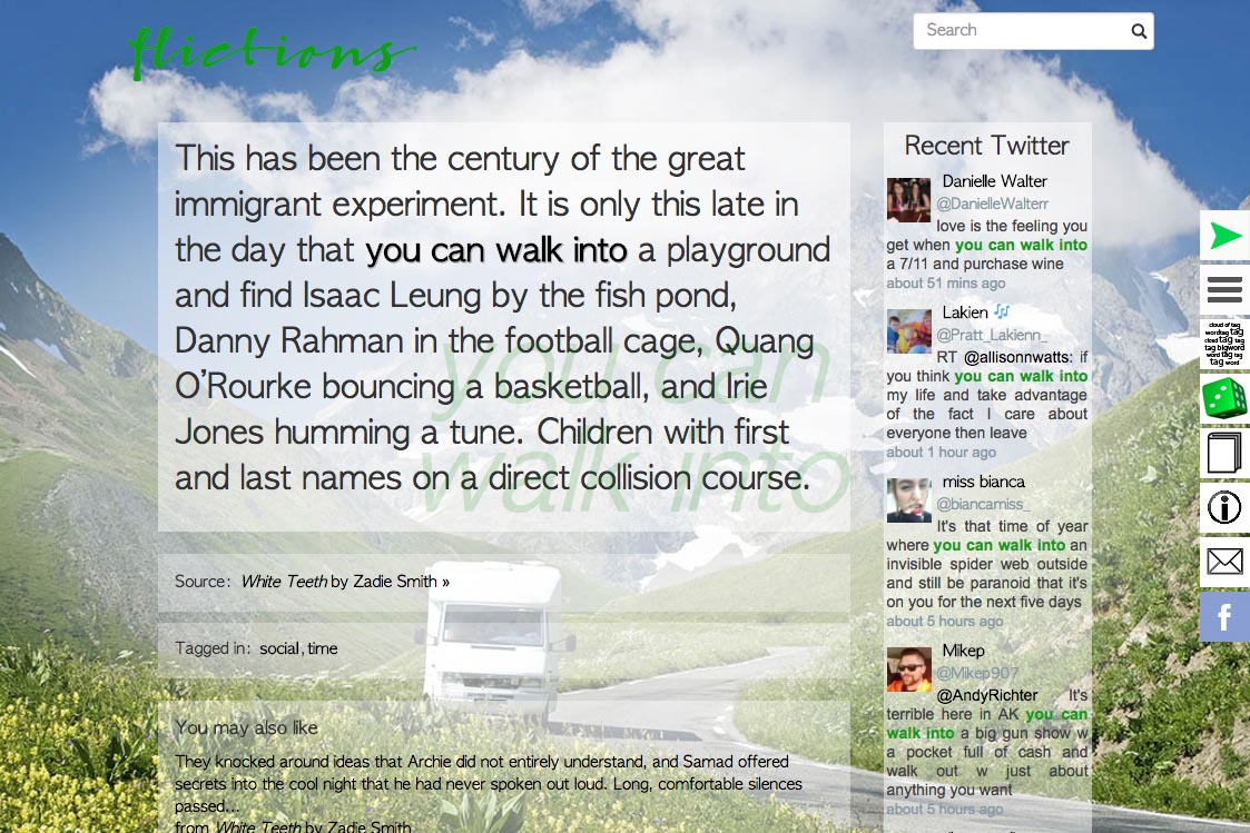 web design for an online art project - literature and twitter post