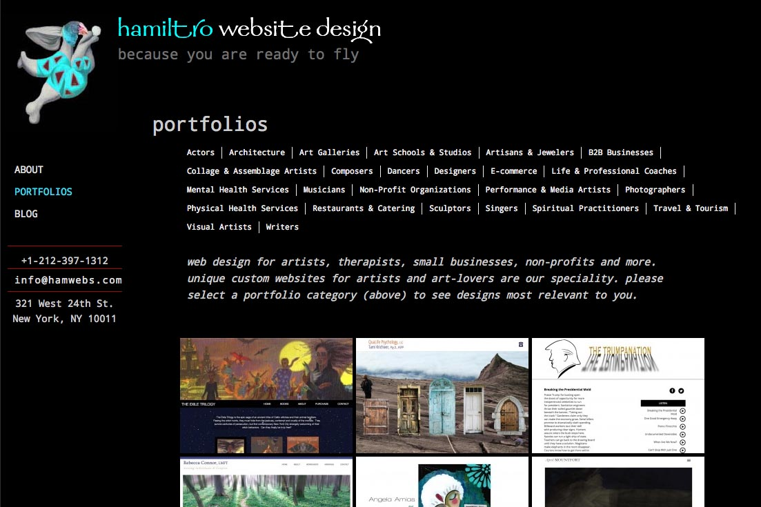 web re-design for a web design company - portfolios index page