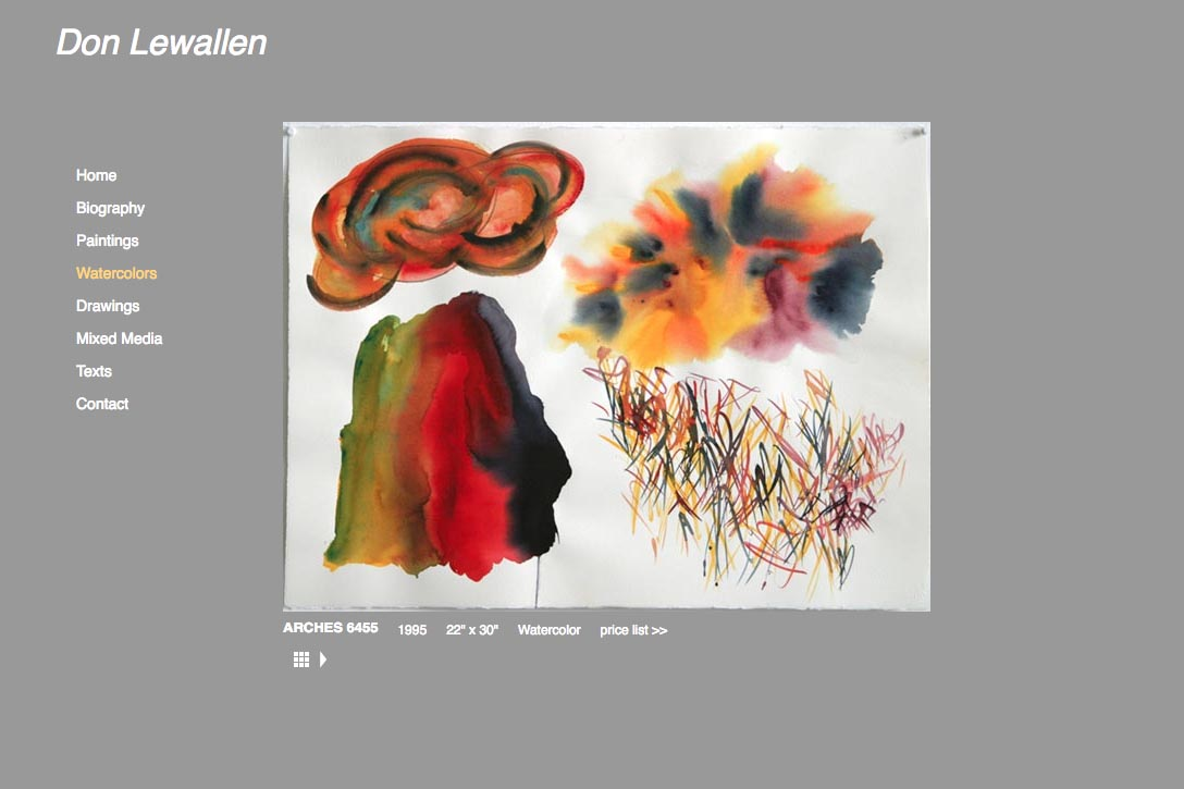 web design for abstract artist - single watercolor page