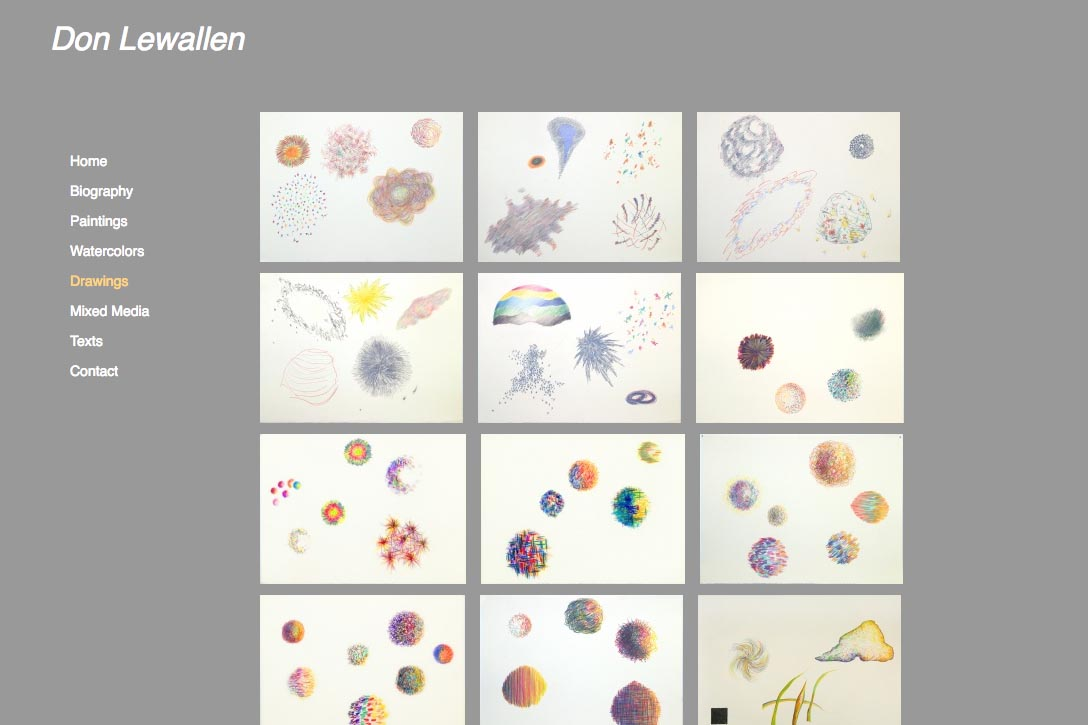 web design for abstract artist Don Lewallen - drawings index page