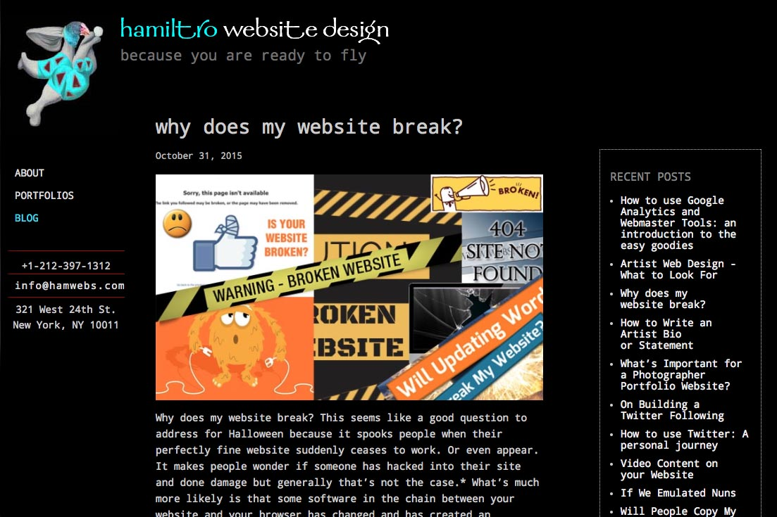 web re-design for a web design company - blog single article page