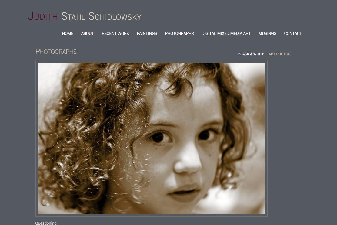 web design for a photographer and painter - Juliet Schidlowsky - monochrome photographs single artwork page
