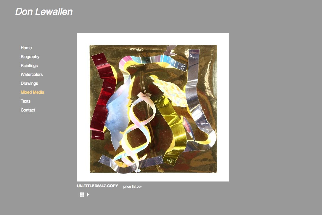 web design for abstract artist Don Lewallen - single mixed media artwork page