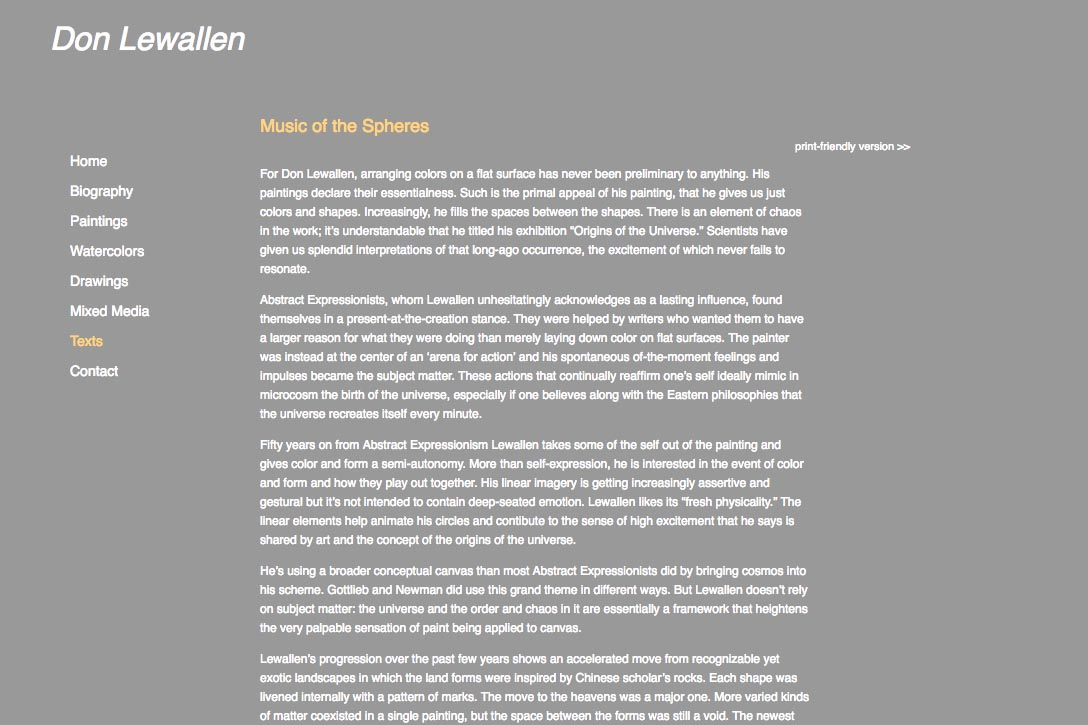 web design for abstract artist - texts page