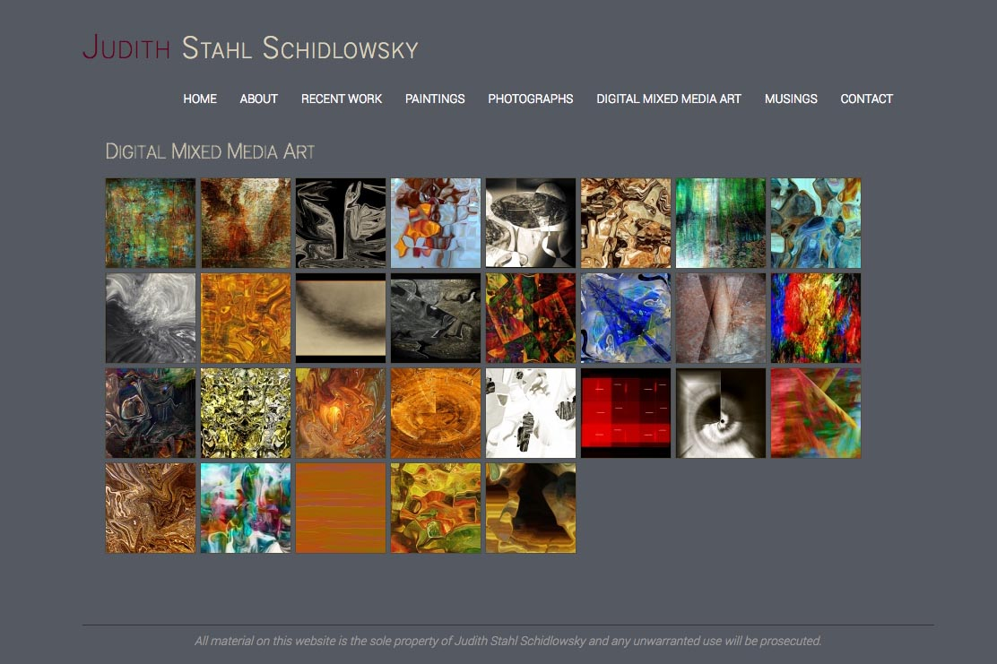 web design for a photographer and painter - Juliet Schidlowsky - digital mixed media index page