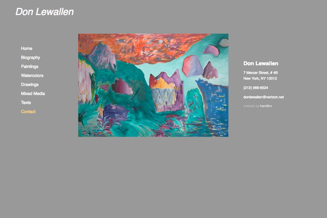 web design for abstract artist - contact page