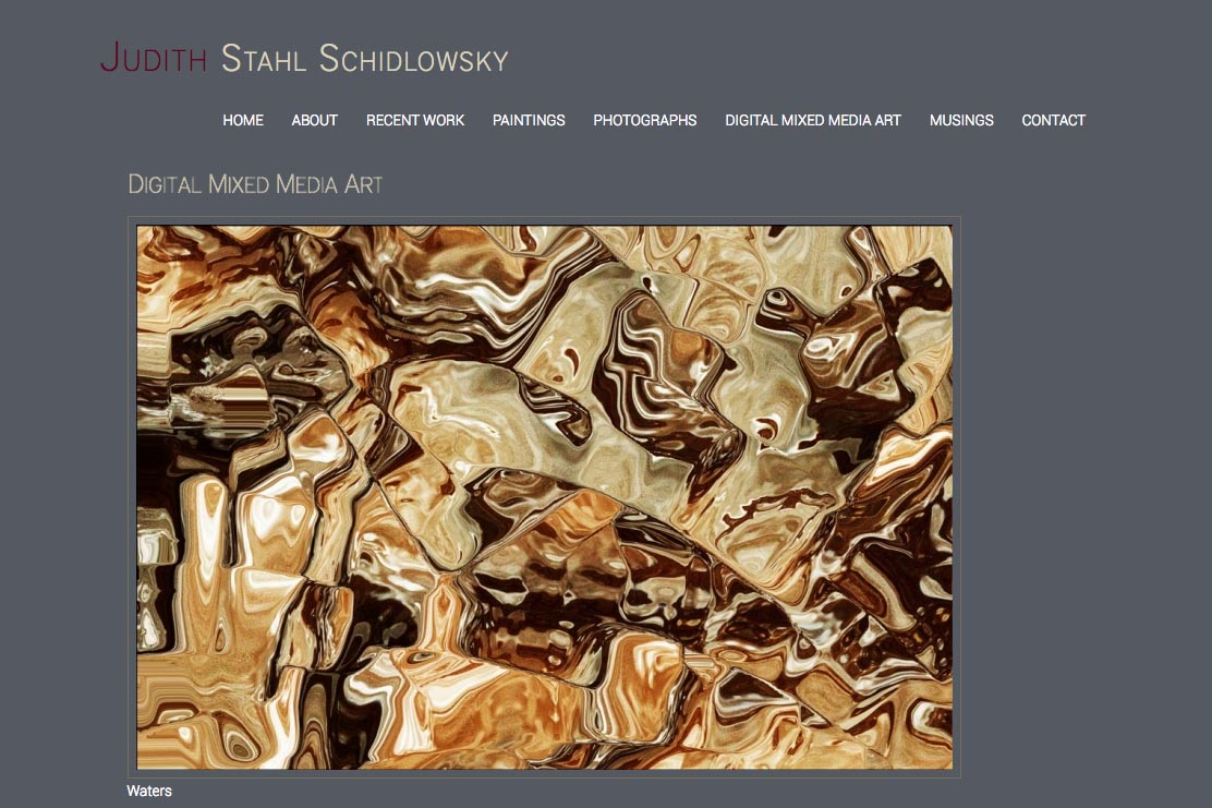 web design for a photographer and painter - Juliet Schidlowsky - digital mixed media single artwork page