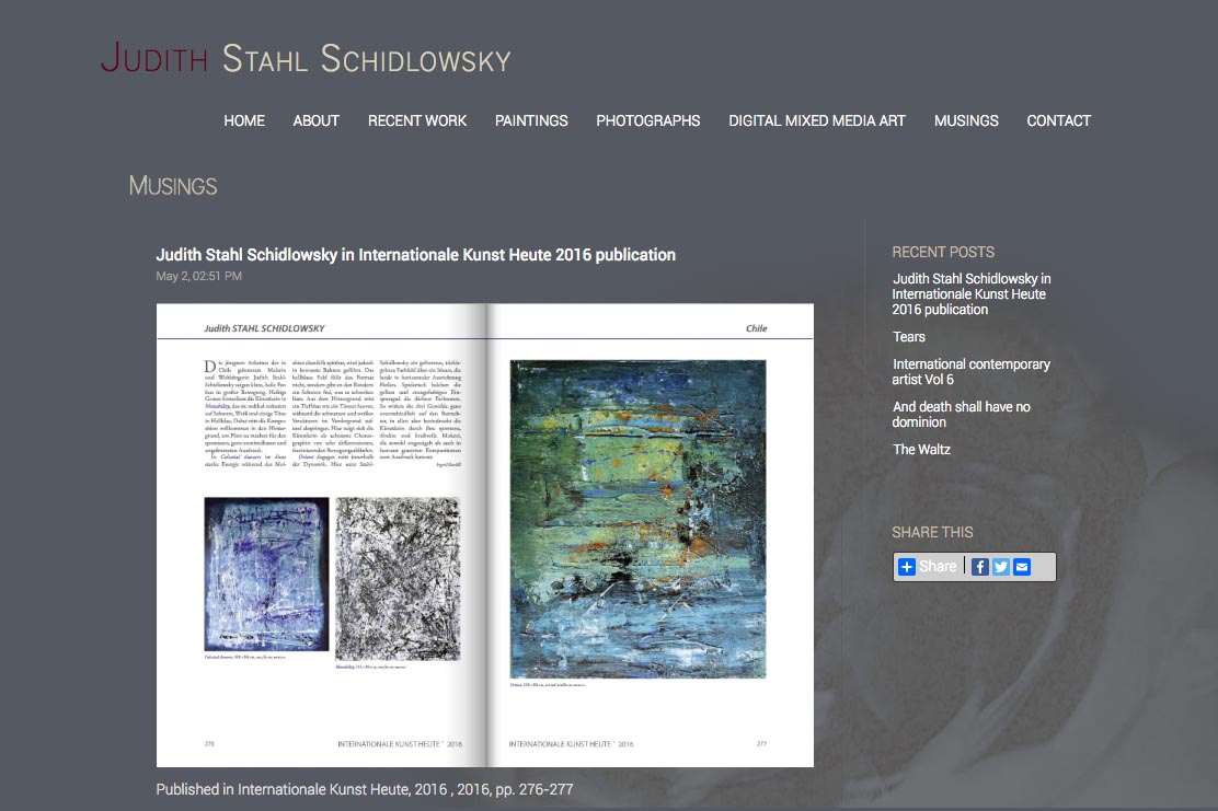 web design for a photographer and painter - Juliet Schidlowsky - musings single article page