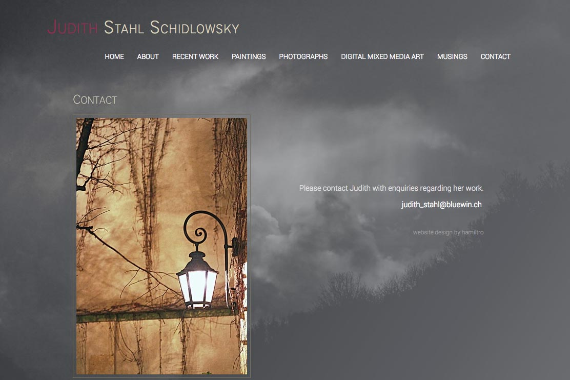 web design for a photographer and painter - Juliet Schidlowsky - contact page