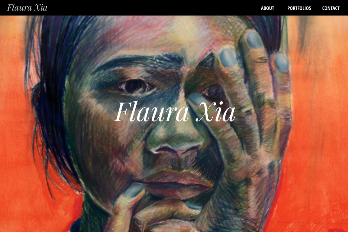 web design for artists - flaura xia artist website - by web designer for artists, Rohesia Hamilton Metcalfe