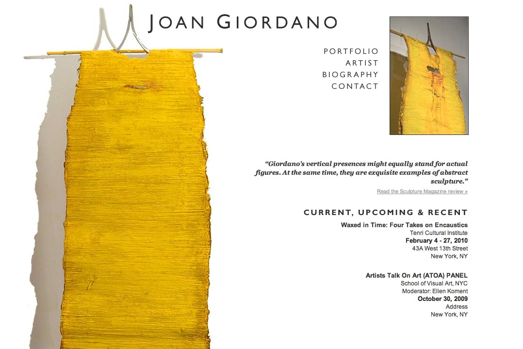 web design for artists - joan giordano artist website - by web designer for artists, Rohesia Hamilton Metcalfe