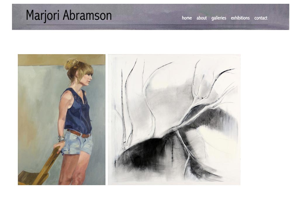 web design for artists -  marjori abramson artist website - by web designer for artists, Rohesia Hamilton Metcalfe