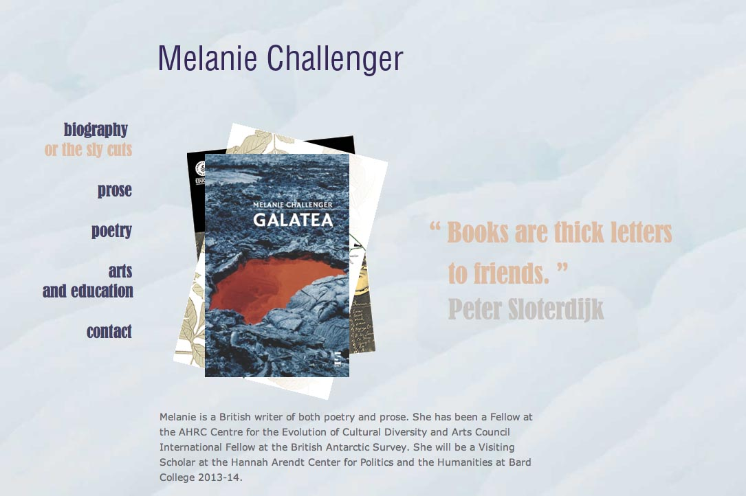 web design for artists -  melanie challenger writer website - by web designer for artists, Rohesia Hamilton Metcalfe